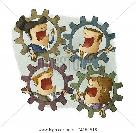 business people connecting inside cogs