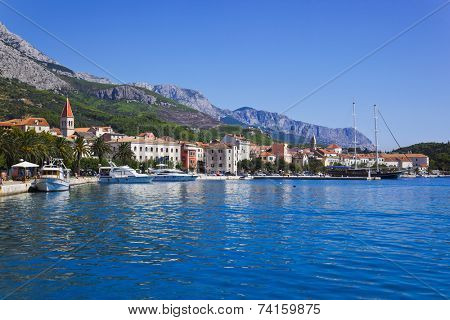 Town Makarska in Croatia - resort travel background
