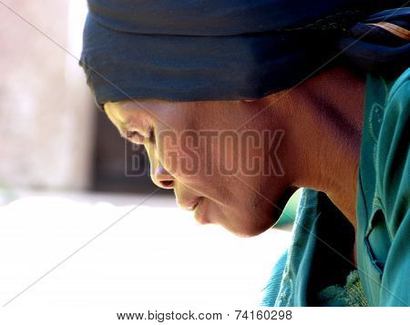 The Face Of An Elderly African Woman Load Of Thoughts And Concern