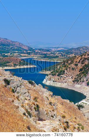 View from ancient city of Pergamon to the lake (Turkey)