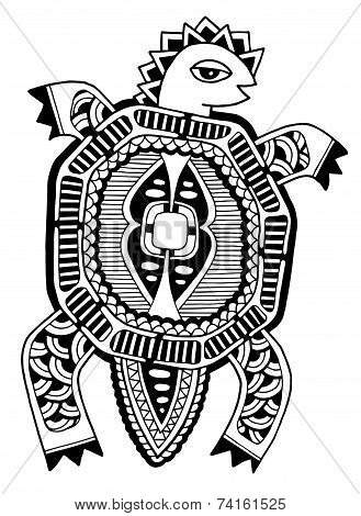 ink drawing of tortoise, ethnic pattern, black and white vector