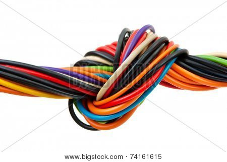 Computer cable with knot isolated on white background