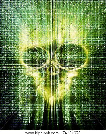 High Quality Hacker Attak Digital Illustration With Skull