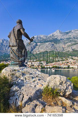 Statue of St. Peter in Makarska, Croatia - travel background