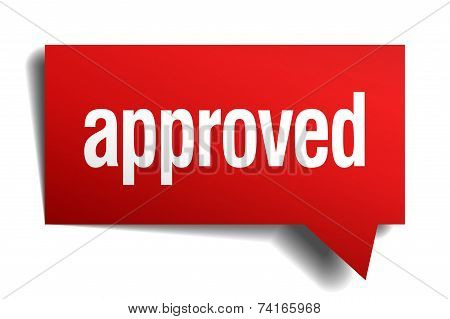 Approved Red 3D Realistic Paper Speech Bubble
