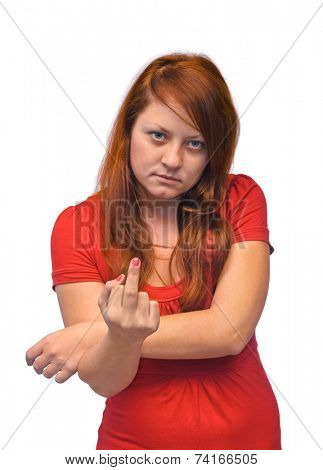 Woman show middle finger isolated on white background