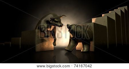 Bull And Bear Market Statues