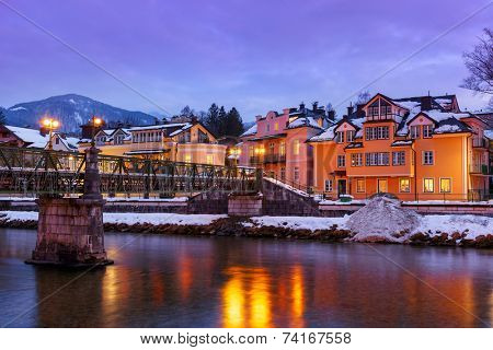 Spa resort Bad Ischl Austria at sunset - nature and architecture background