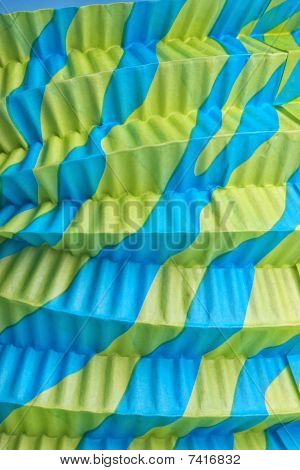 Green And Blue Goffered Paper