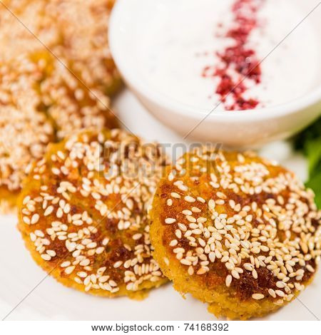 Middle East Cuisine. A Plate Of Delicious Falafels