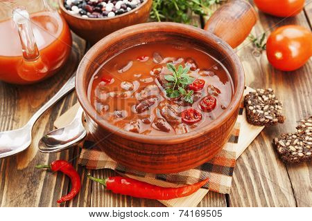 Chili Soup With Red Beans And Greens