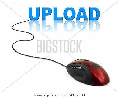 Computer mouse and word Upload - internet concept