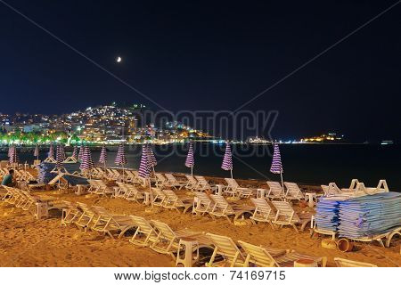 Night view of Kusadasi Turkey - travel background