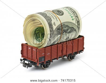 Train with money isolated on white background