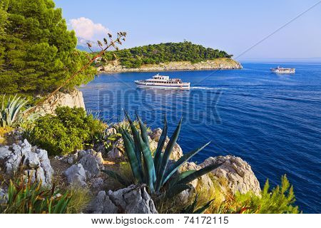 Coast and ship at Makarska, Croatia - vacations background