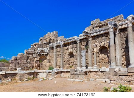 Old ruins in Side, Turkey - archaeology background