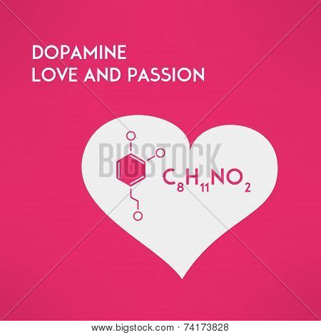 Love chemistry passion concept. Dopamine. Vector