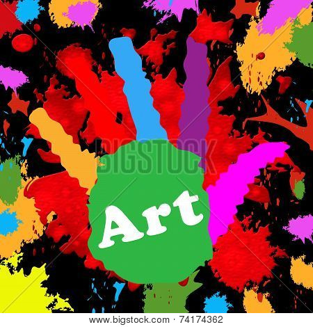 Art Handprint Represents Colourful Youngsters And Colour
