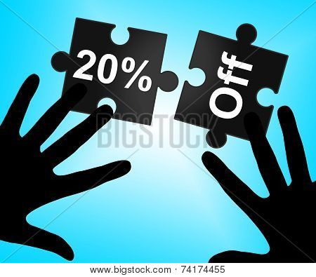 Twenty Percent Off Represents Save Discount And Sale