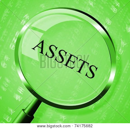 Assets Magnifier Shows Valuables Goods And Magnify