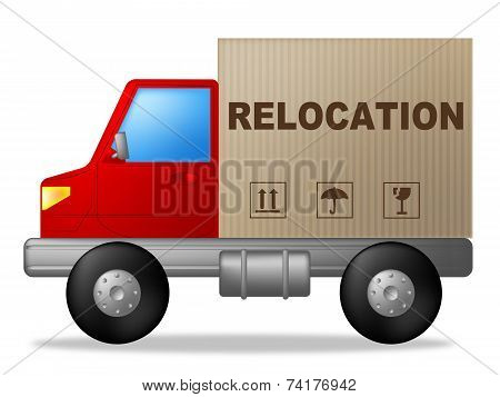 Relocation Truck Indicates Buy New Home And Delivery