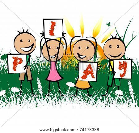 Kids Play Indicates Childhood Joy And Enjoyment