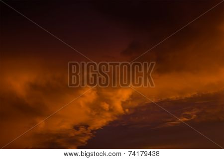 Sunset Cloudy Sky Similar To A Raging Sea