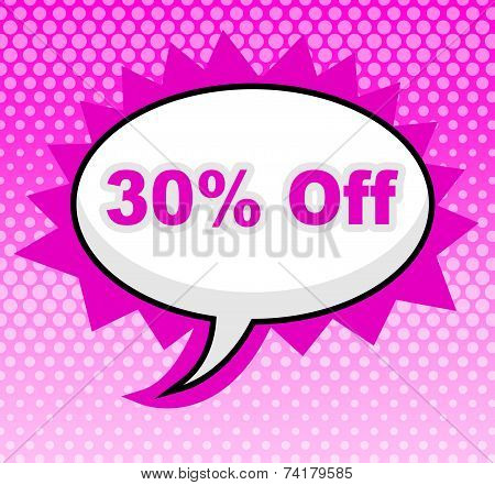 Thirty Percent Off Means Retail Message And Discount