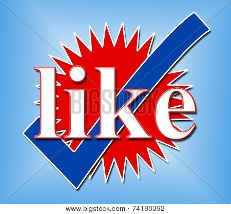Like Tick Shows Social Media And Checked
