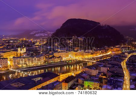 Salzburg Austria at night - architecturel background