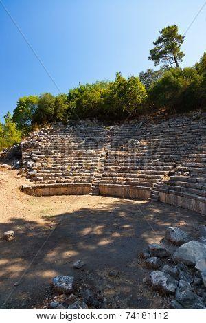 Old amphitheater Phaselis in Antalya, Turkey - archaeology background