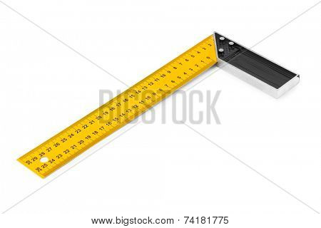 Construction square triangle ruler isolated on white background