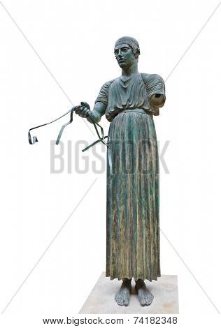 Statue Charioteer from Greece - isolated on white background