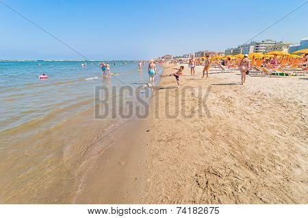 People On The Beach In Cervia, Italy