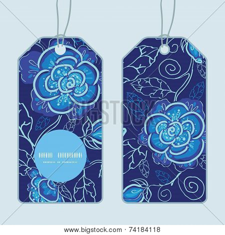 Vector blue night flowers vertical round frame pattern tags set