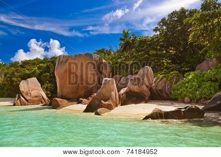 Beach Source d'Argent at Seychelles - nature background