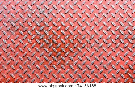 Texture Of Old Red Diamond Metal Sheet