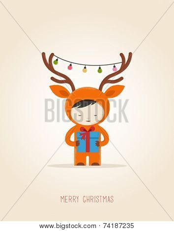 Christmas cute design greeting card background with girl deer