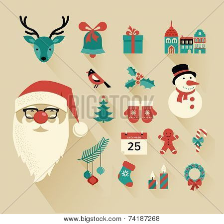 Christmas flat icons design set