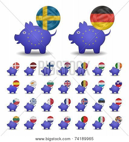 Set Currencies Flags And Piggy Bank Europe