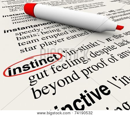 Instinct word circled with its definition on a dictionary page to illustrate a gut feeling beyond knowledge or facts and information
