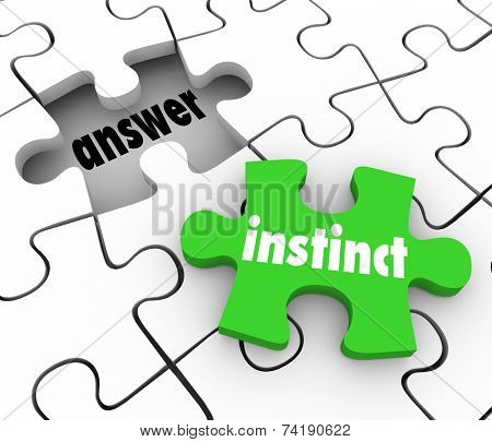 Instinct word on a green puzzle piece to find solution to problem with gut feeling or intuition