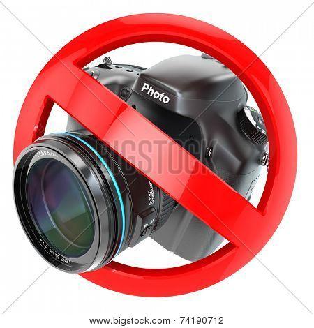 No photography sign.  Photo camera prohibition. 3d