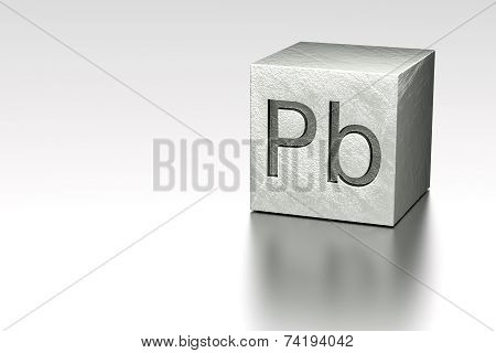 Lead Cube With Pb Plumbum Mark