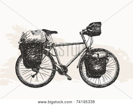 Bicycle ready for travel around the World, sketch Hand drawn illustration