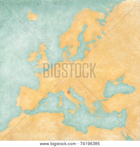 Map Of Europe - San Marino (vintage Series)