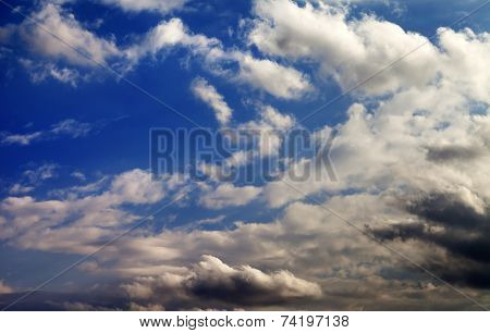 Blue Sky And Evening Sunlight Clouds