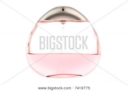 Oval egg-shaped pink female perfume flacon on white