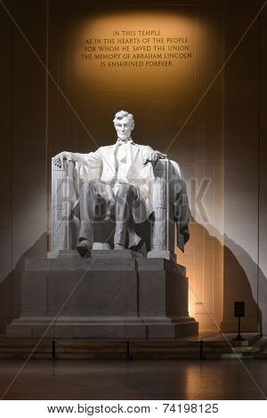 Lincoln statue at Lincoln Memorial at night - Washington DC, USA