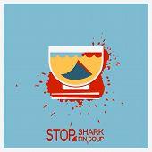 stock photo of fin  - No shark finning soup - JPG